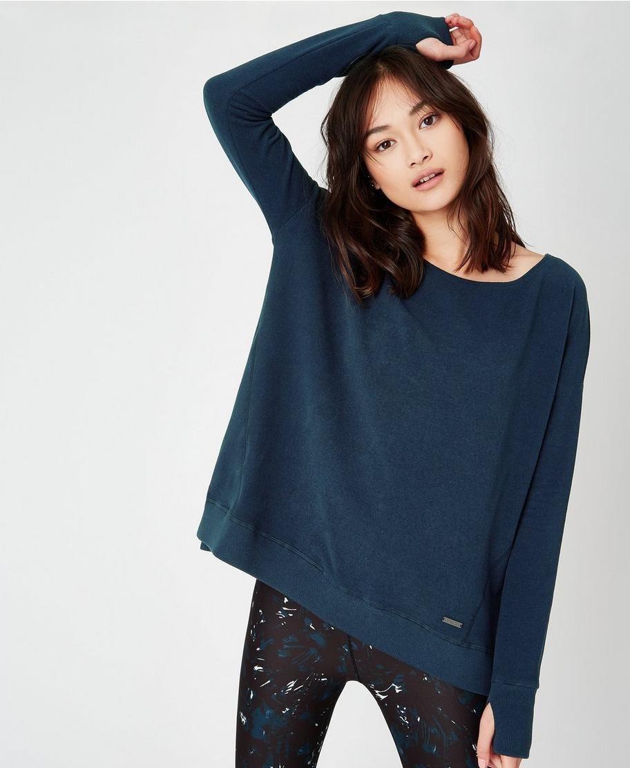 Luxe Invigorate Hoody Sweaty Betty jumper hoodie Loose Fitting fleece BLUE