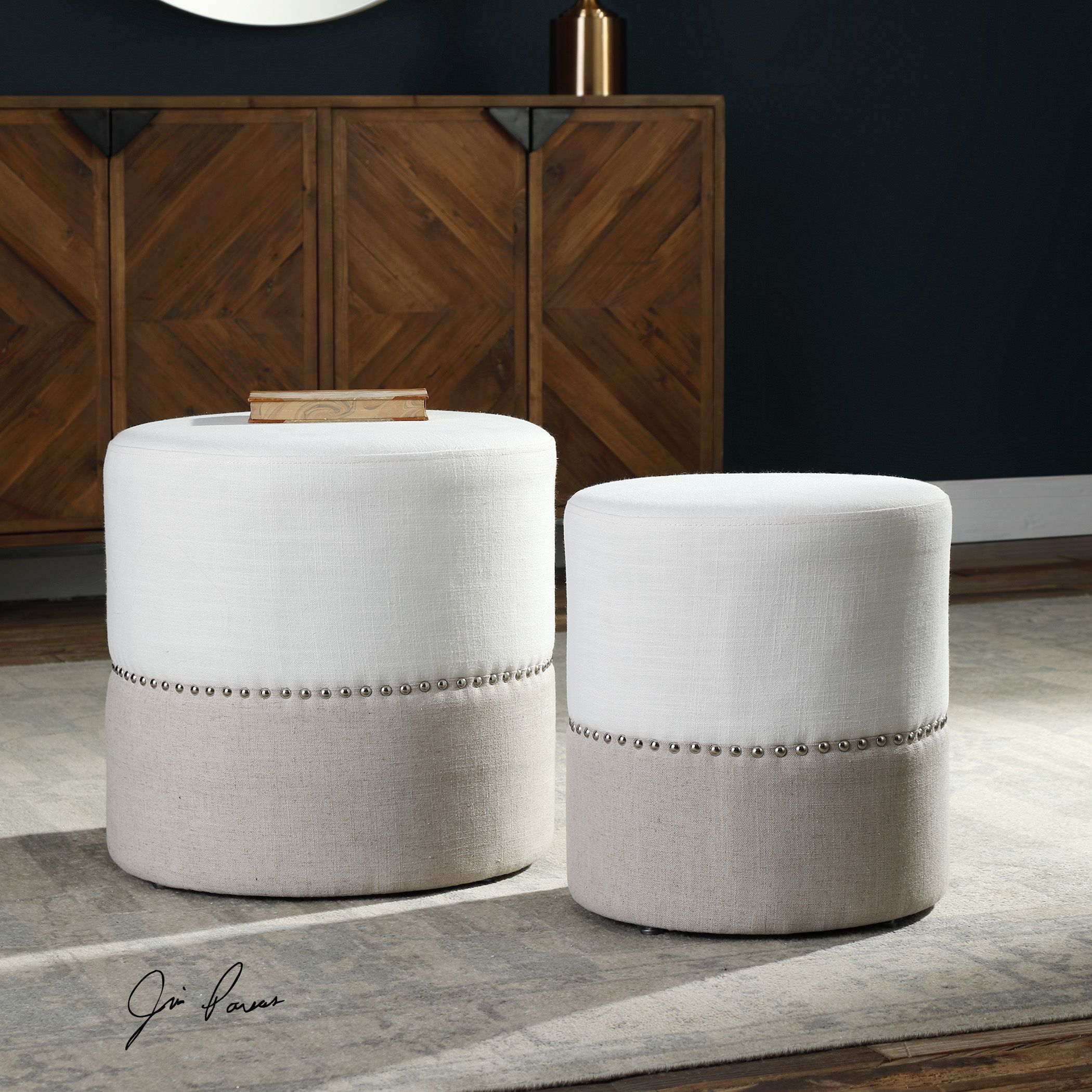 Accent Chair With Nesting Ottoman: Tilda Two-Toned Nesting Ottomans S/2