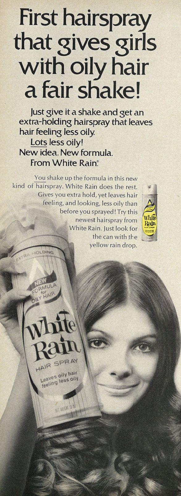 white rain hair spray with pretty brunette tagline
