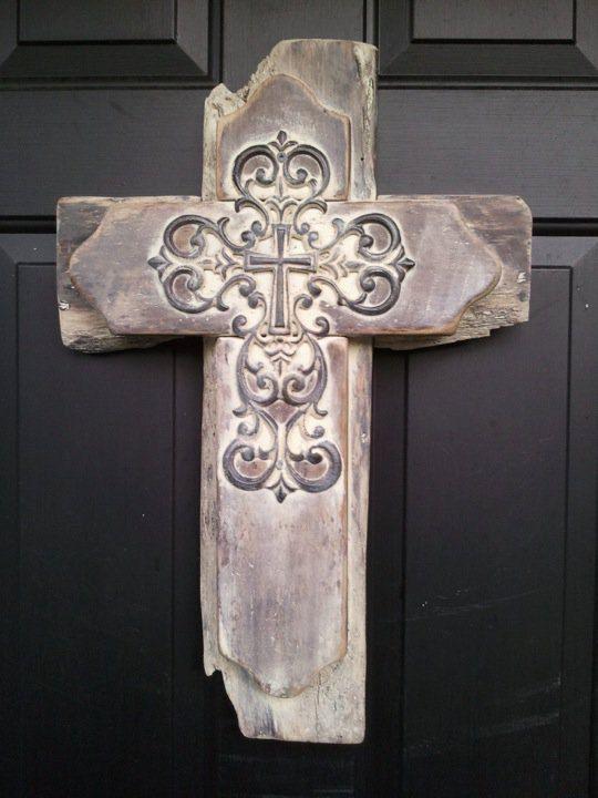 Cross Whitewashed Reclaimed Wooden Door hanger
