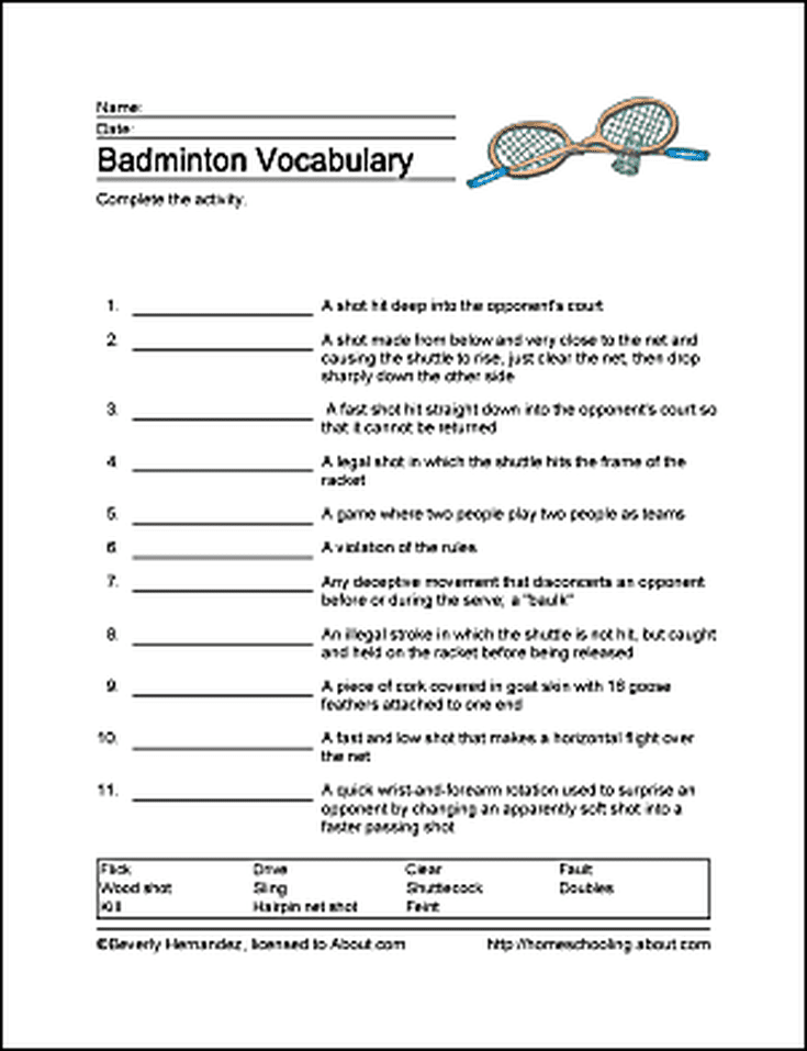 badminton wordsearch  vocabulary  crossword and more
