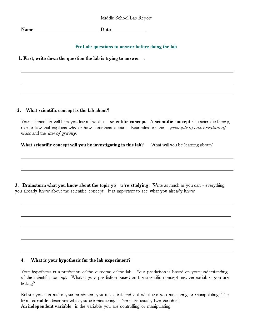 Middle School Lab Report Templates At for Science Lab