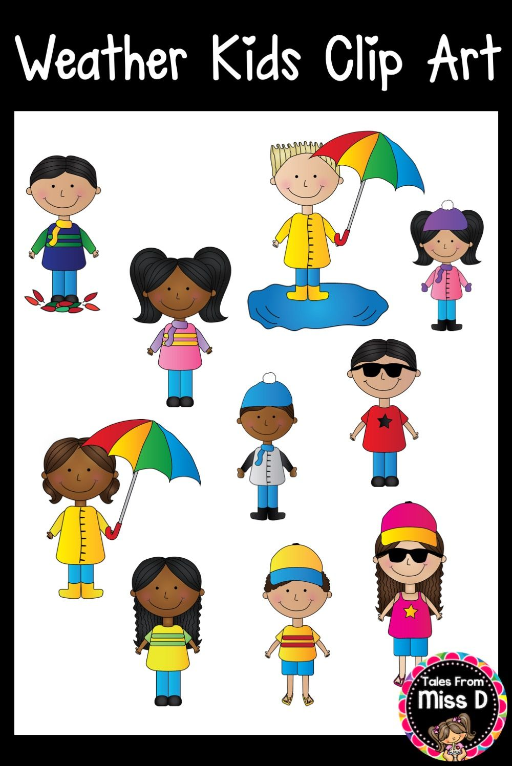 Weather Kids Clip Art | Girl in rain, Clip art, Cool ...