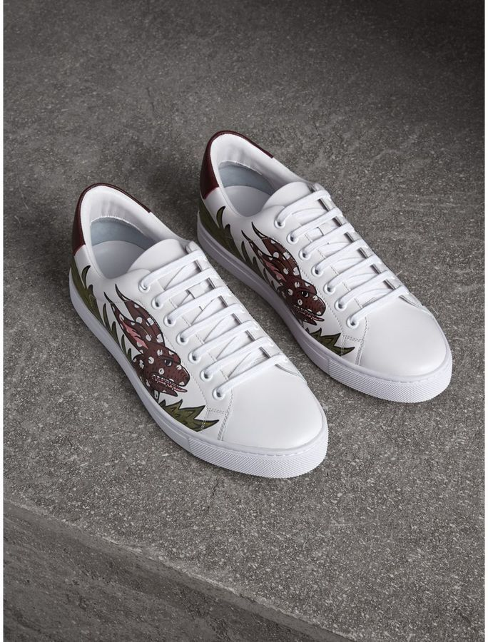Logo Print Leather Sneakers - White Burberry