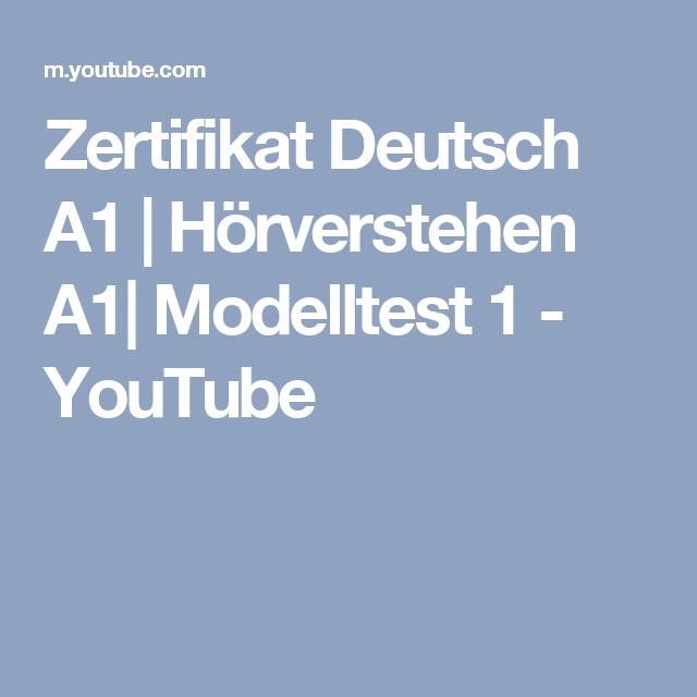 Zertifikat Deutsch A1 | Hörverstehen A1| Modelltest 1 - YouTube