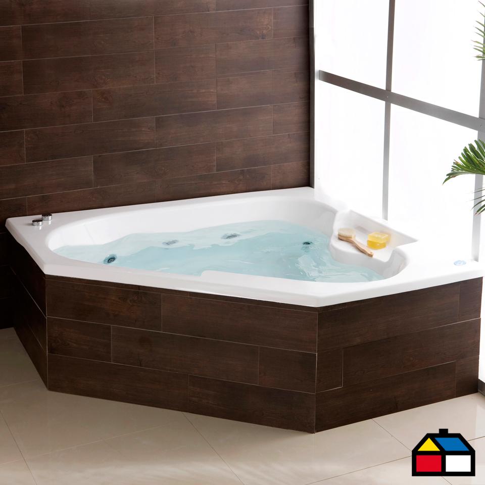 Norglas tina hidromasaje 150 x 150 x 115 cm creta derecha for Llaves para duchas sodimac