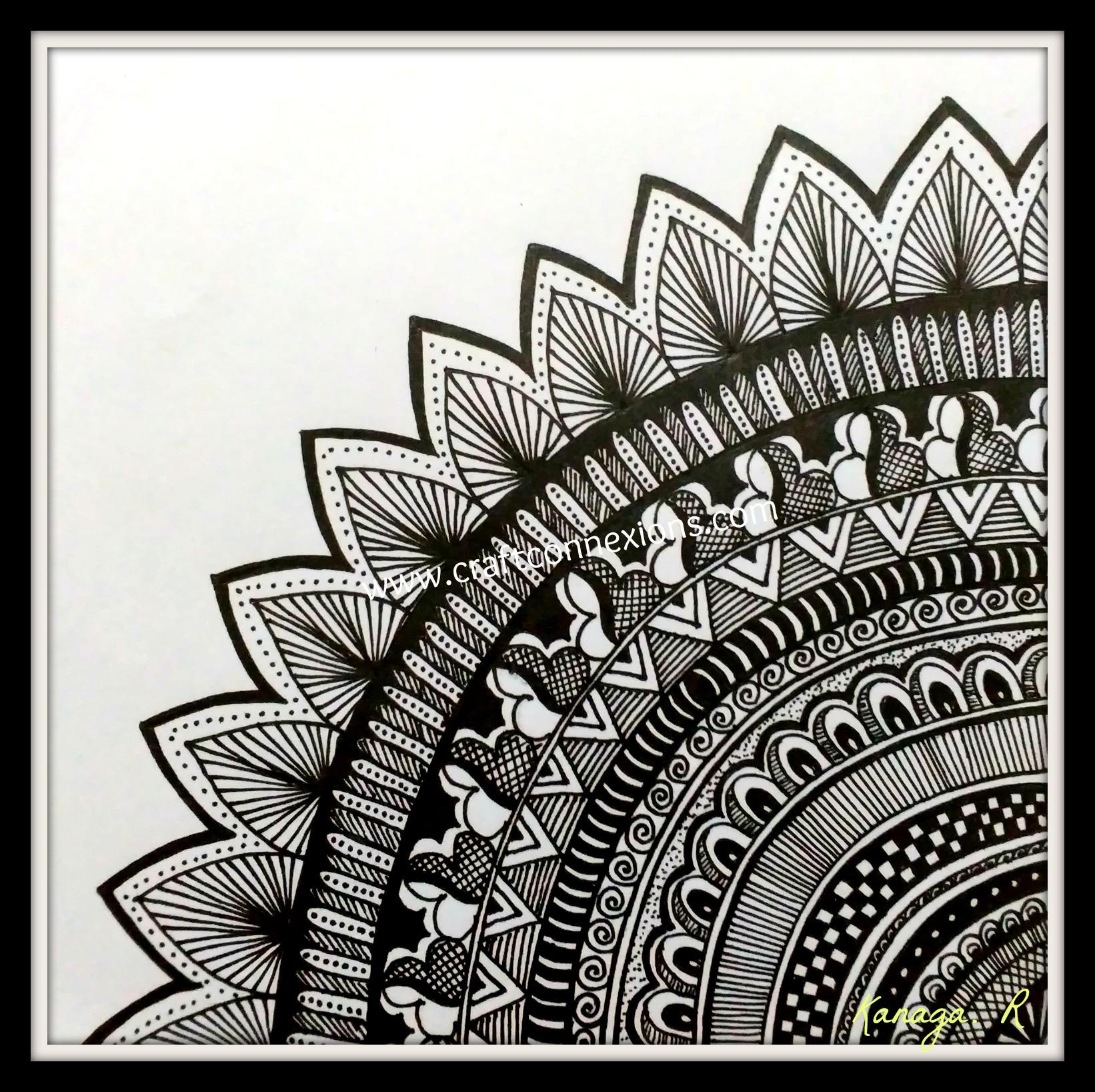 Doodle Mandala Wall Frame Easy Doodle Art Mandala Artwork Easy Mandala Drawing