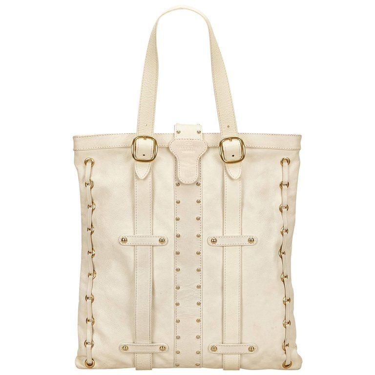 2d47c3572787 Valentino White Studded Leather Tote Bag | 1stdibs.com | My Style