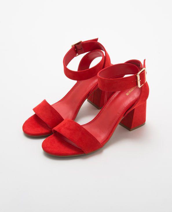 66546307da8a8 Sandales rouges à talons carrés rouge   Sandales   Sandales, Talons ...