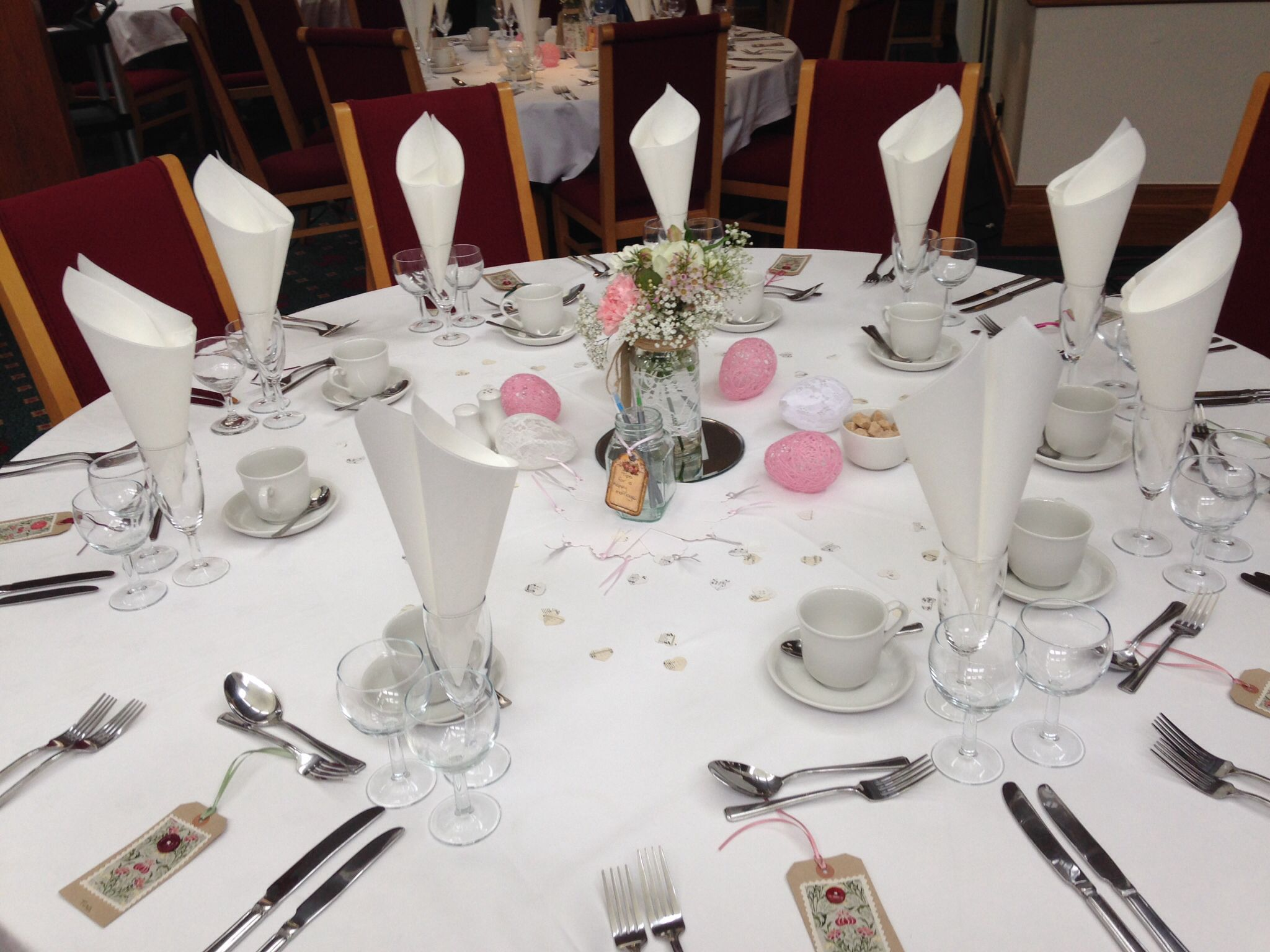 Hand made name tags, centre piece jars, confetti, string and lace balls for wedding lunch
