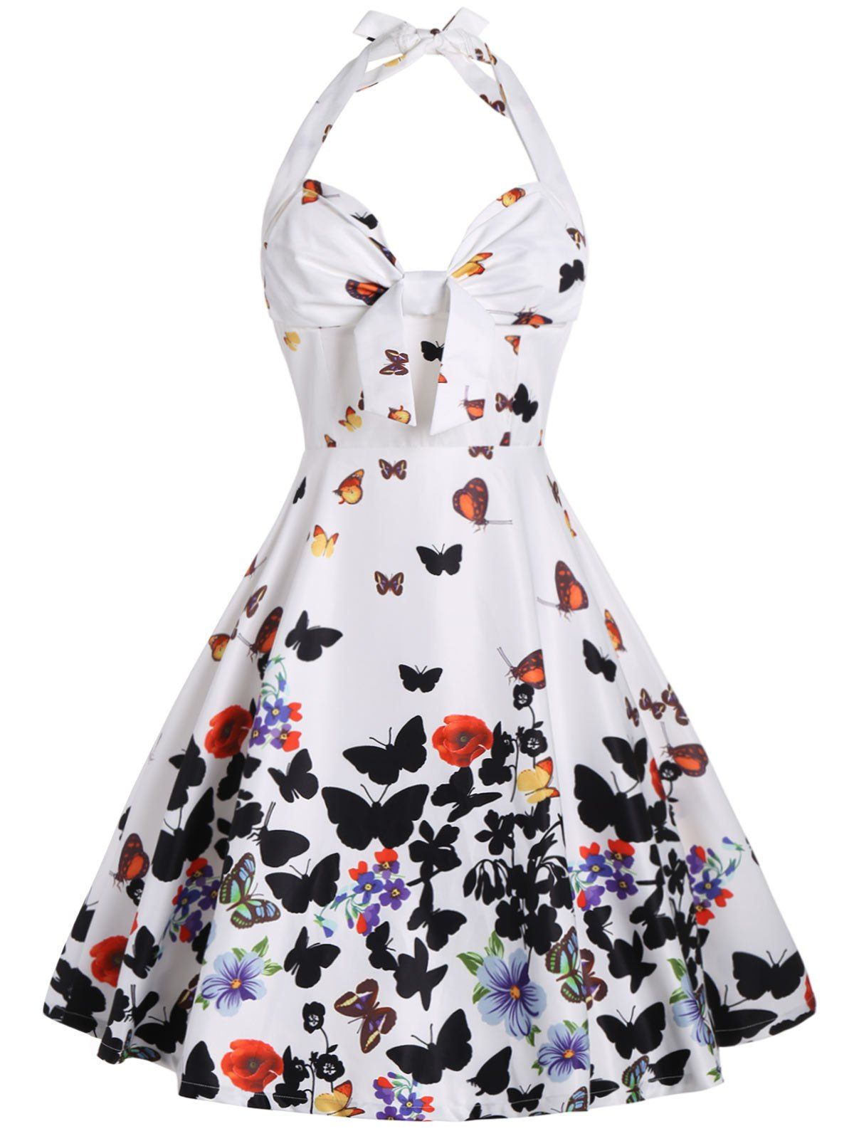 Butterfly Print Halter A Line Dress | Butterfly print dress
