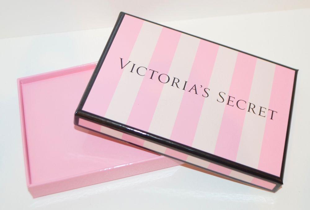 New victorias secret classic pink stripe empty gift box