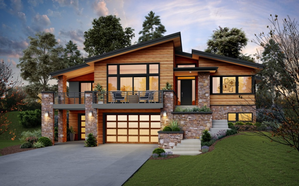 Contemporary Style House Plan 4 Beds 2 5 Baths 2707 Sq Ft Plan 48 979 In 2020 Flat Roof House Sloping Lot House Plan Contemporary House Plans