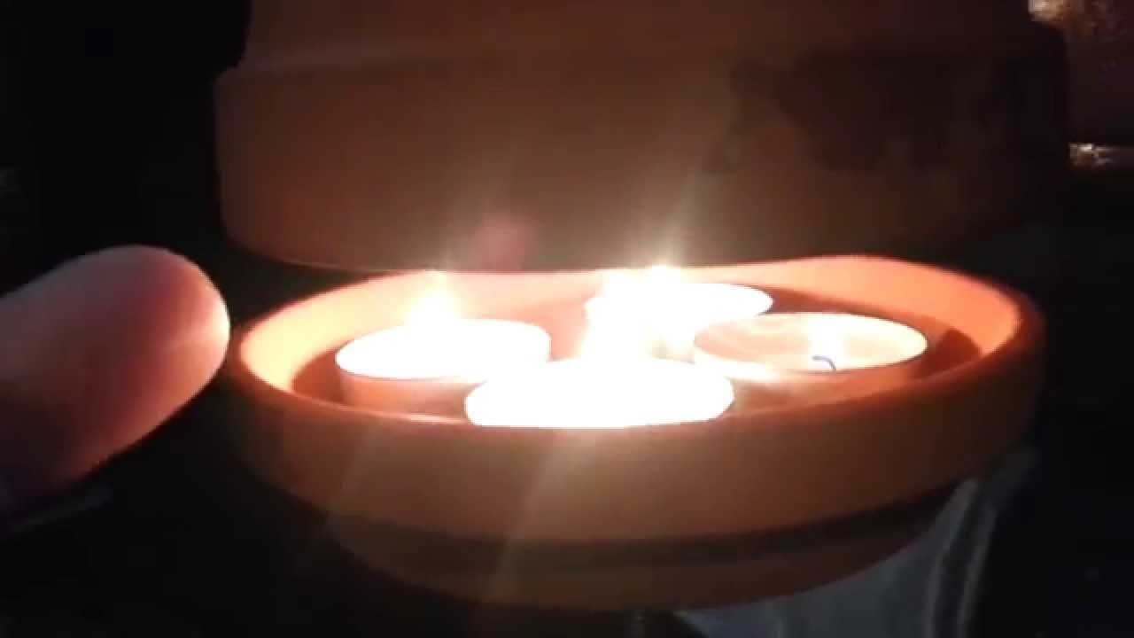 Risk of death clay flower pot candle heater emergency