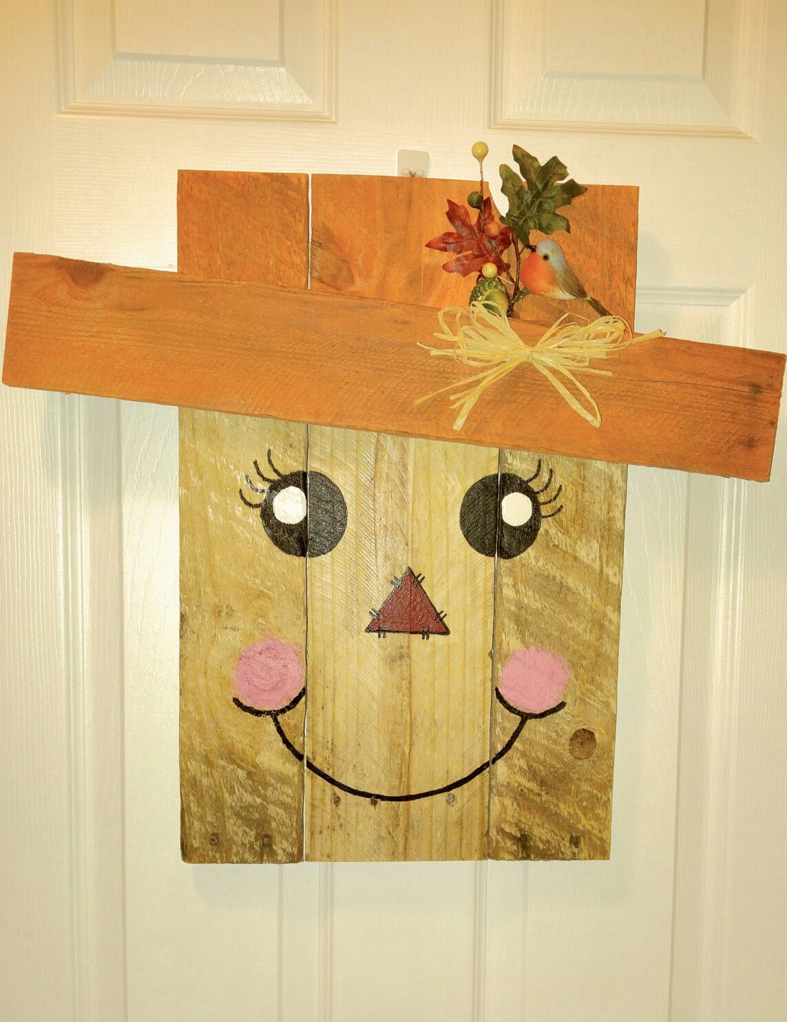 Neat Handmade Female Scarecrow Door Hanger Made From Re Purposed