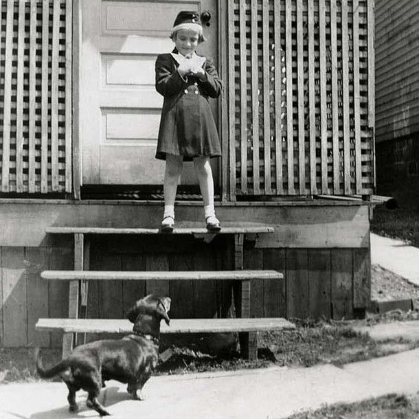 1941 Girl And Her Dachshund