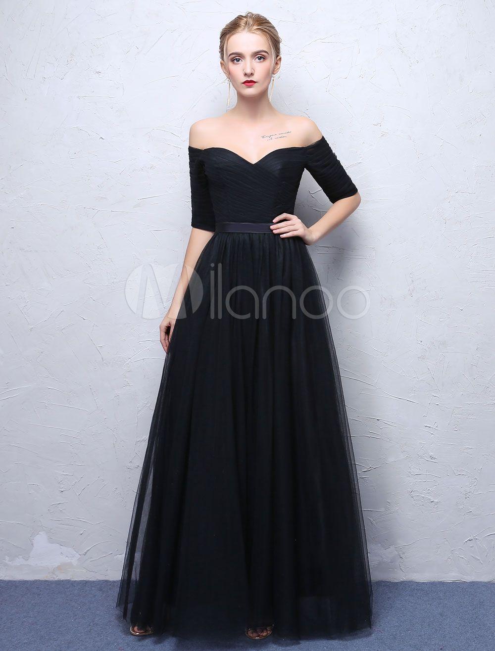 Evening 2019 Half Shoulder Dress Prom The Black Off Long Dresses qxEpn0w4