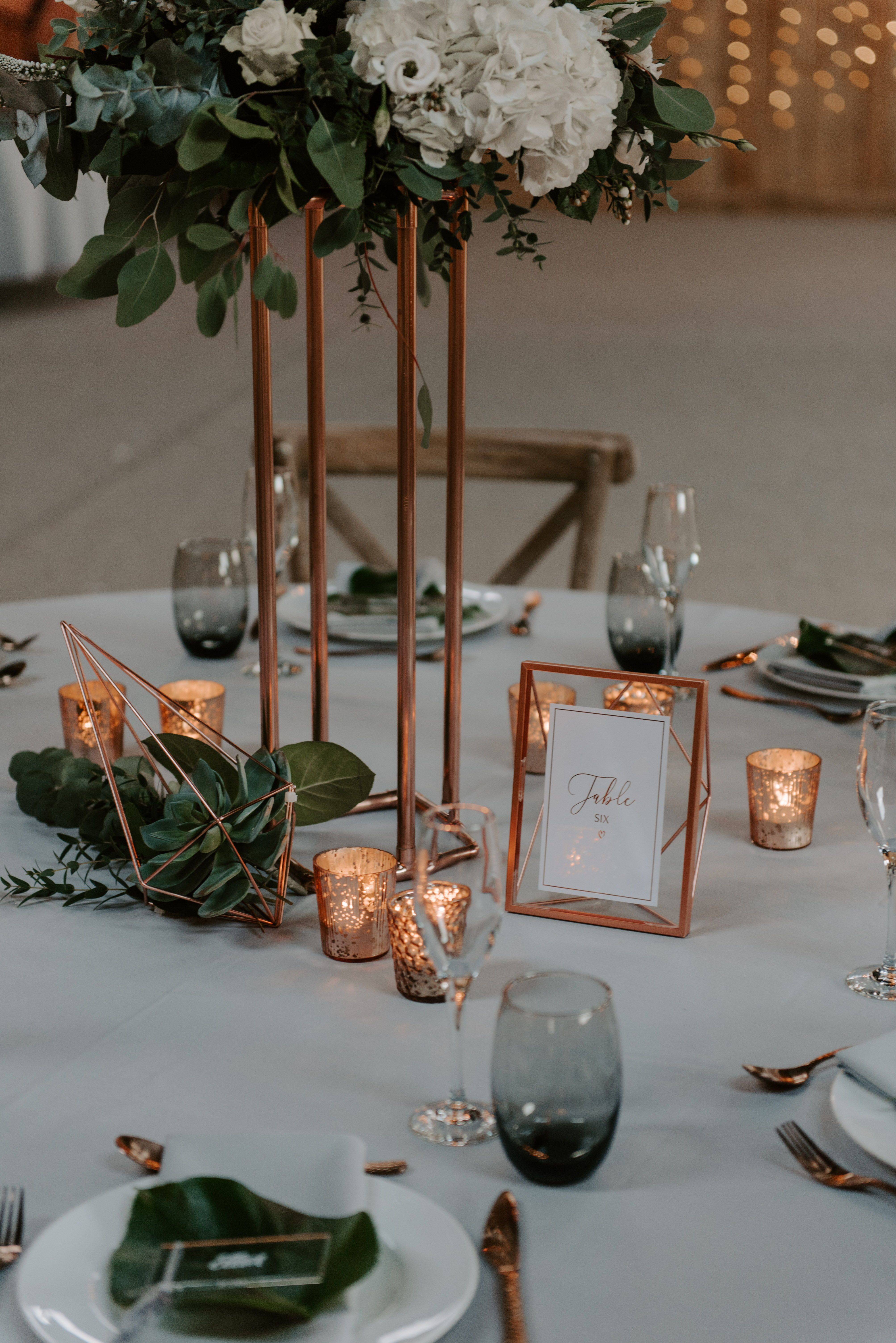 Copper Metal and Glass Table Number Holders Copper table