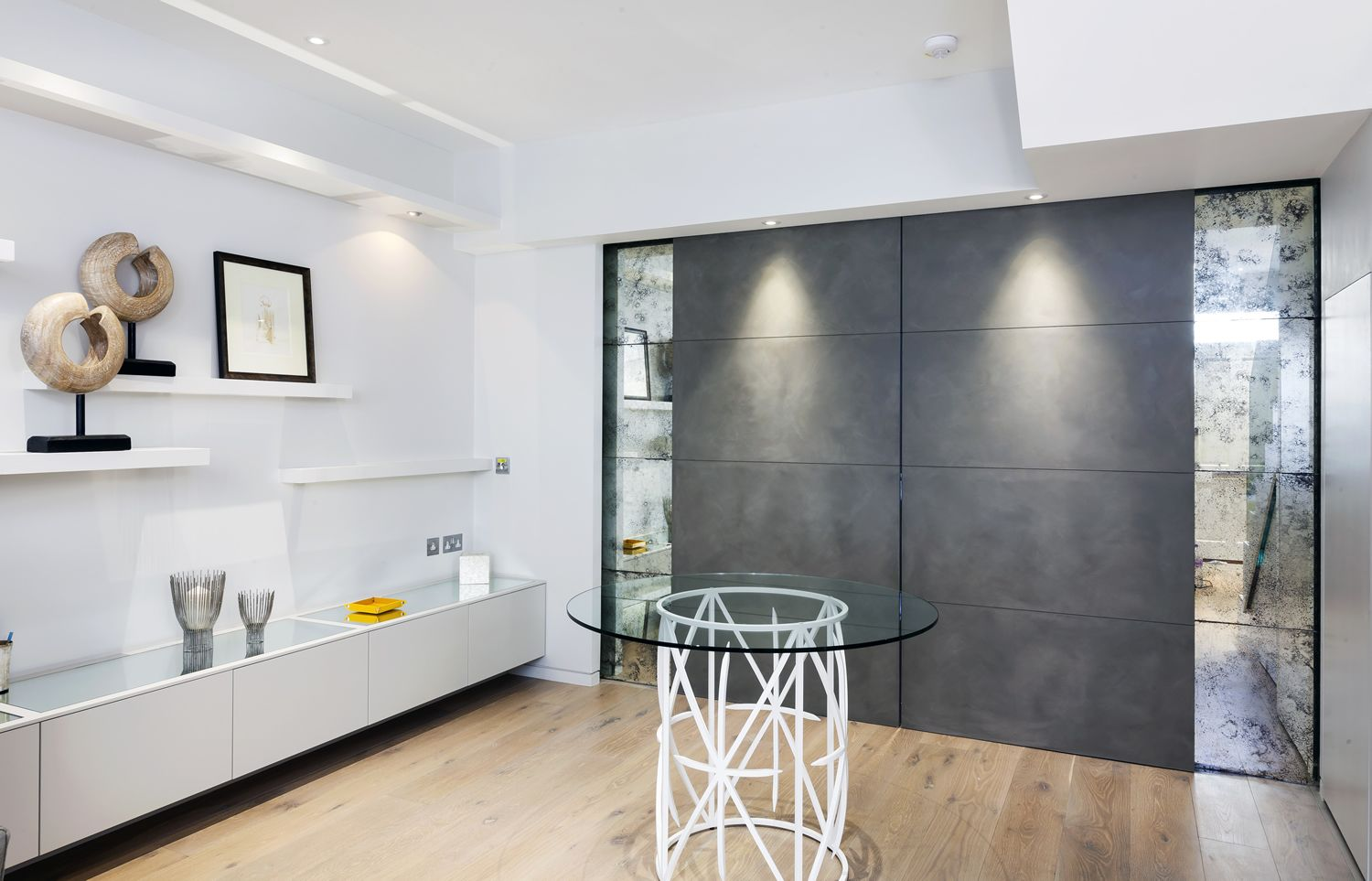 Vintage dividing wall panels between open plan living space ...