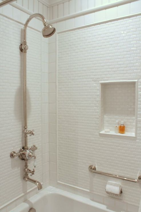 Talk Of The House Bathrooms Drop In Bathtub Tub Shower Surround Mini Subway Tiles Beveled