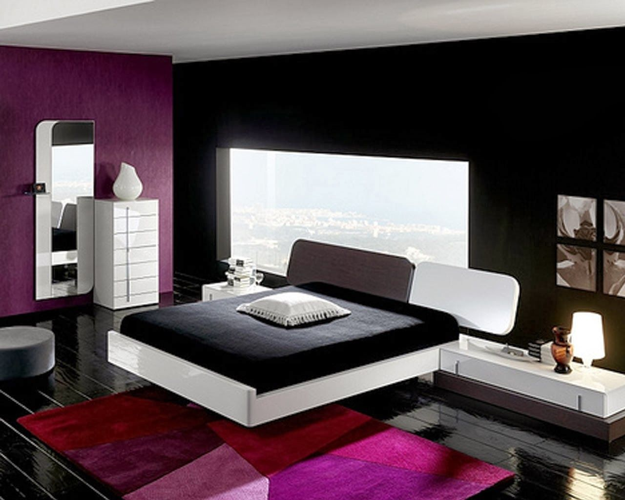 chambre noir blanc et rose decoration et design d. Black Bedroom Furniture Sets. Home Design Ideas