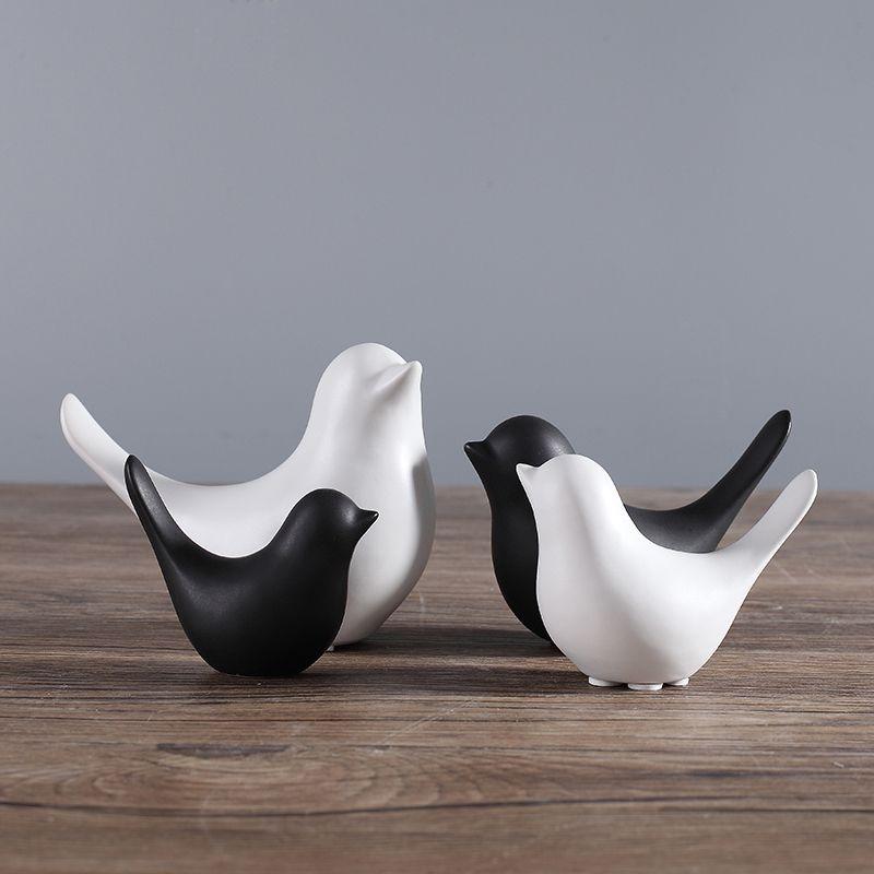 Ceramic Animal Figurines White Black Bird Figure Statues Ornaments Crafts