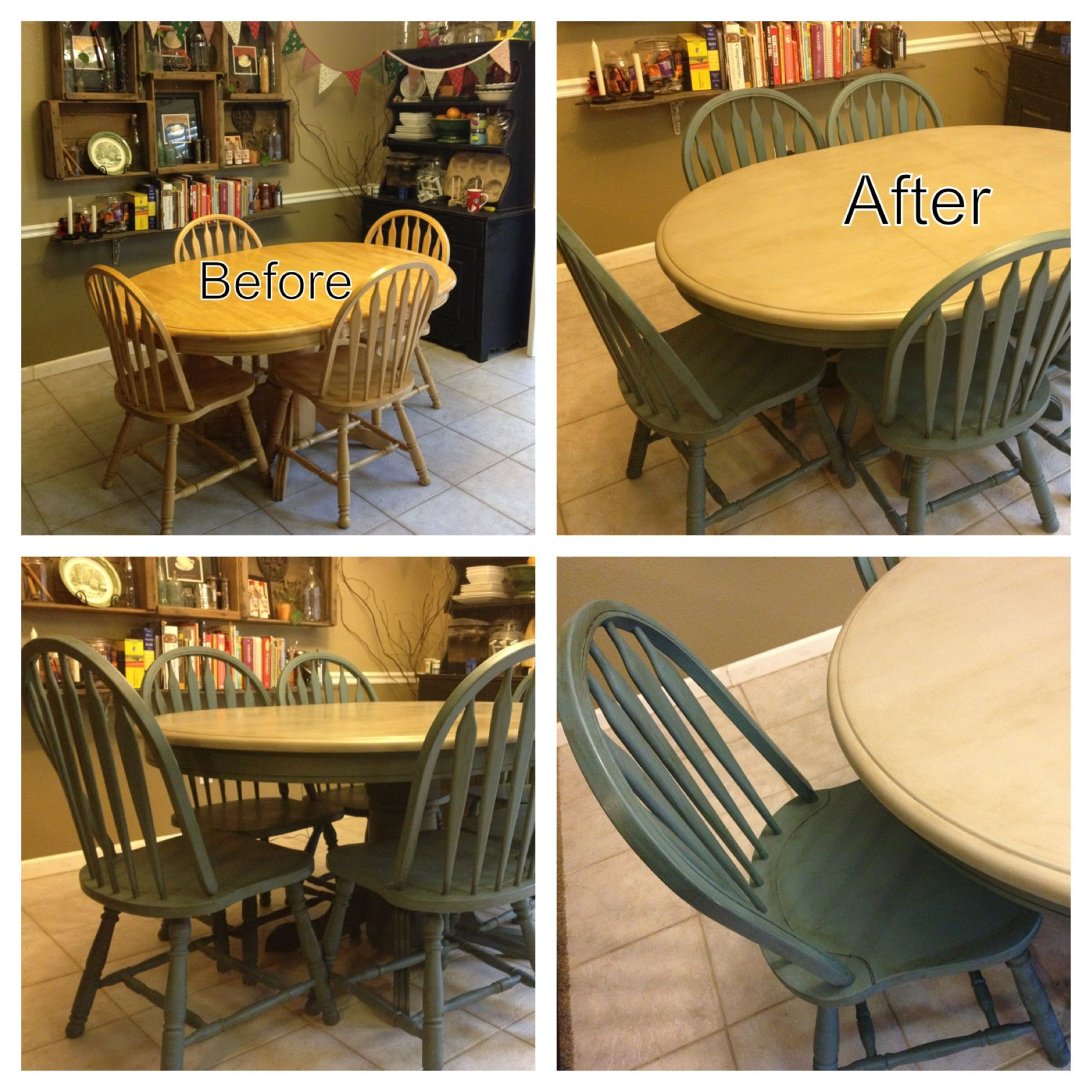My dining set makeover i repainted our 13 year old set for Painted kitchen table ideas