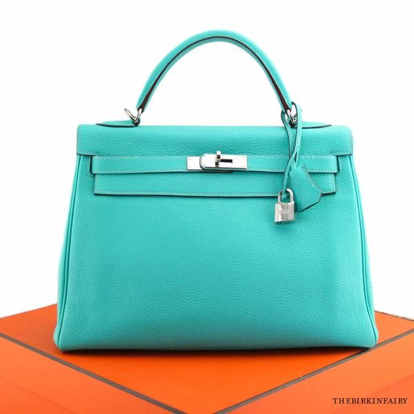 dcfbc67141a3 Hermes Blue Lagoon Togo Kelly Retourne Bag with Palladium Hardware ...