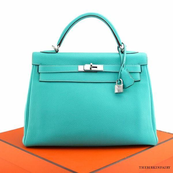 33af473d1105 Hermes Blue Lagoon Togo Kelly Retourne Bag with Palladium Hardware ...
