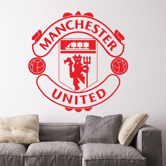 Vinyl Wall Decal   Manchester United Soccer Football Team Logo Wall Sticker  School Sports Wall Decals Part 74