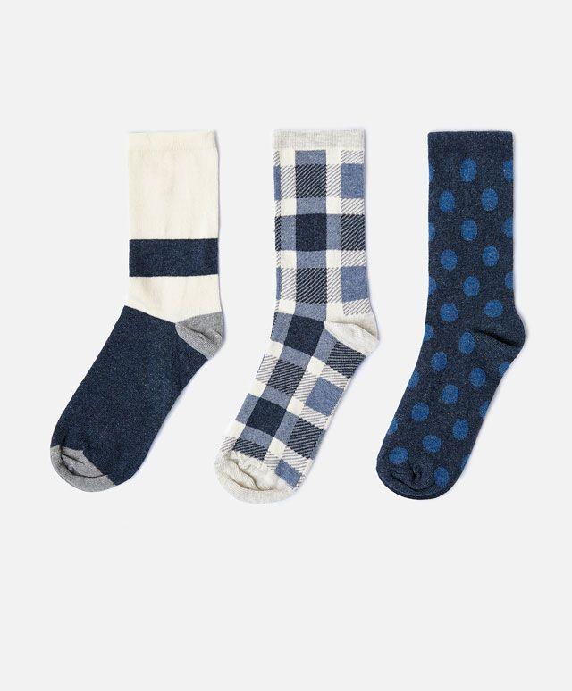 9b9db06c0ee 3-pack of checked socks - OYSHO