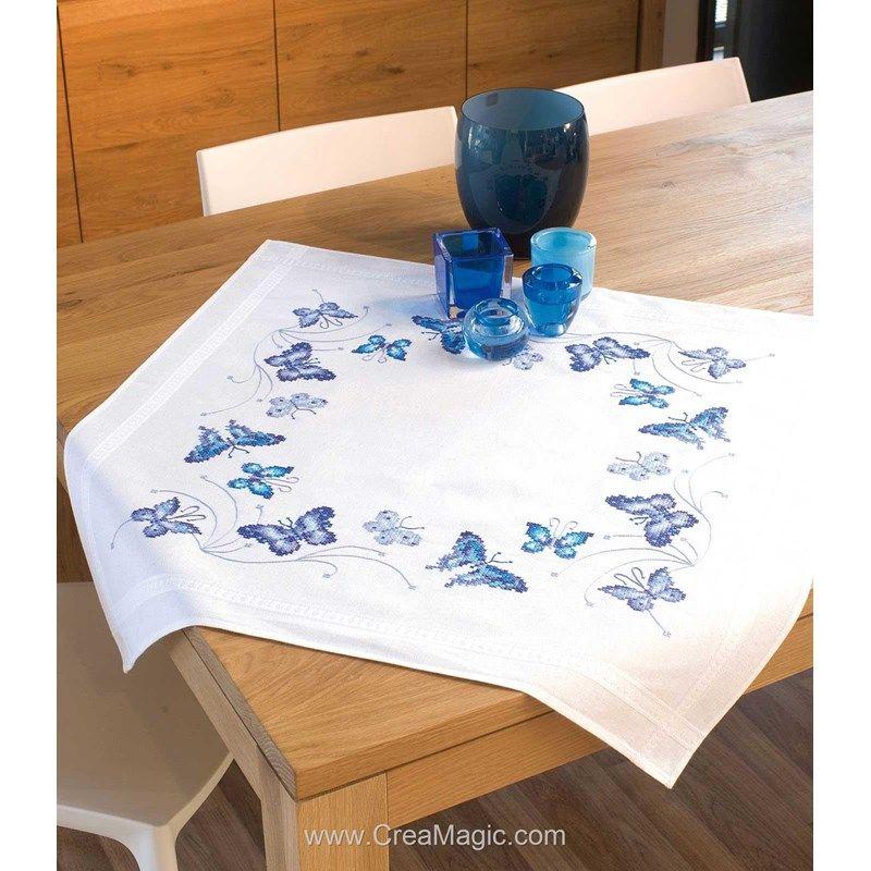 VERVACO  0145089  Chemin de  table  Papillons bleus  Point de Croix  Imprimé