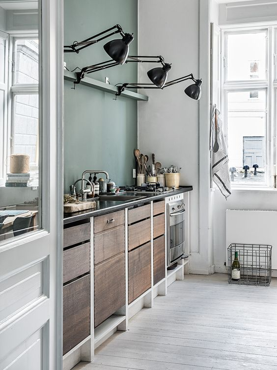 Grey Green Inspired Kitchen With Swing Arm Lamps Over The Counter Tops Loving Recycled Wood Vintage Look Of These Cabinets