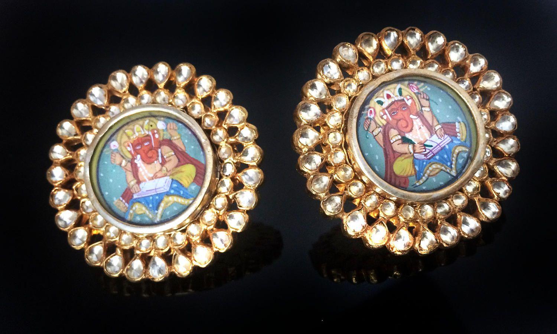 Wedding Gift,Antique Ganesha Dangle Earrings Multi Glass Traditional Old Silver Ethnic Earrings Indian Tribal Jewelry