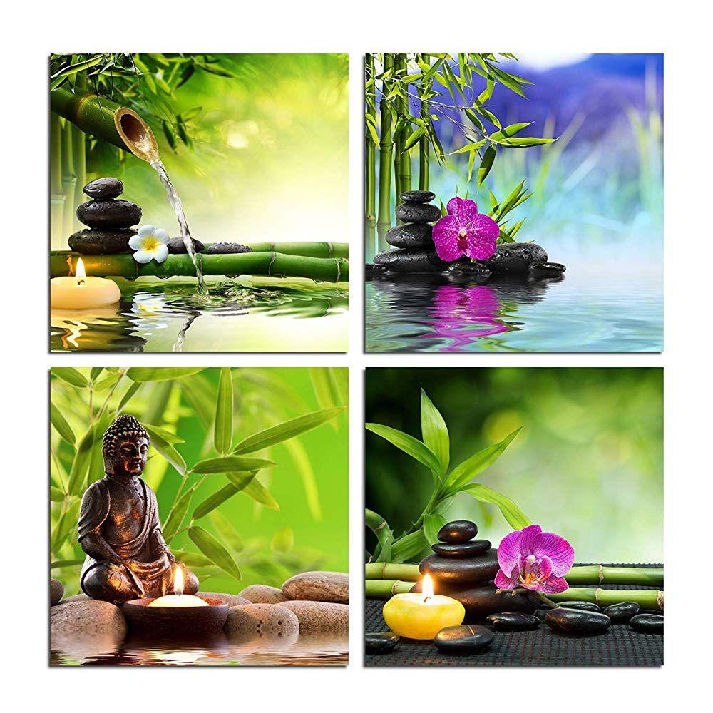 Zen Garden Wall Art Canvas Spa Green Bamboo Leaves Purple Orchid