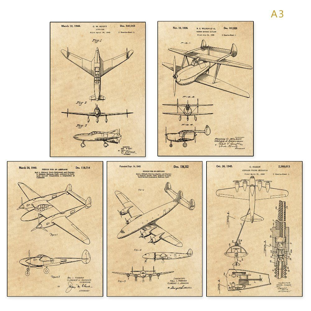 Vintage patent art world war II Airplane poster sets 5 in 1 Airplane ...