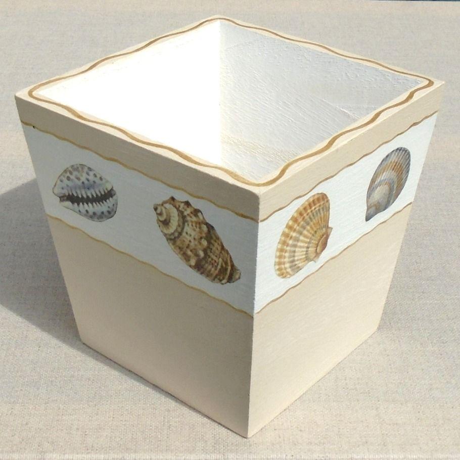 Cache-pots carré en bois décoré de coquillages : Accessoires de maison par deco-gy