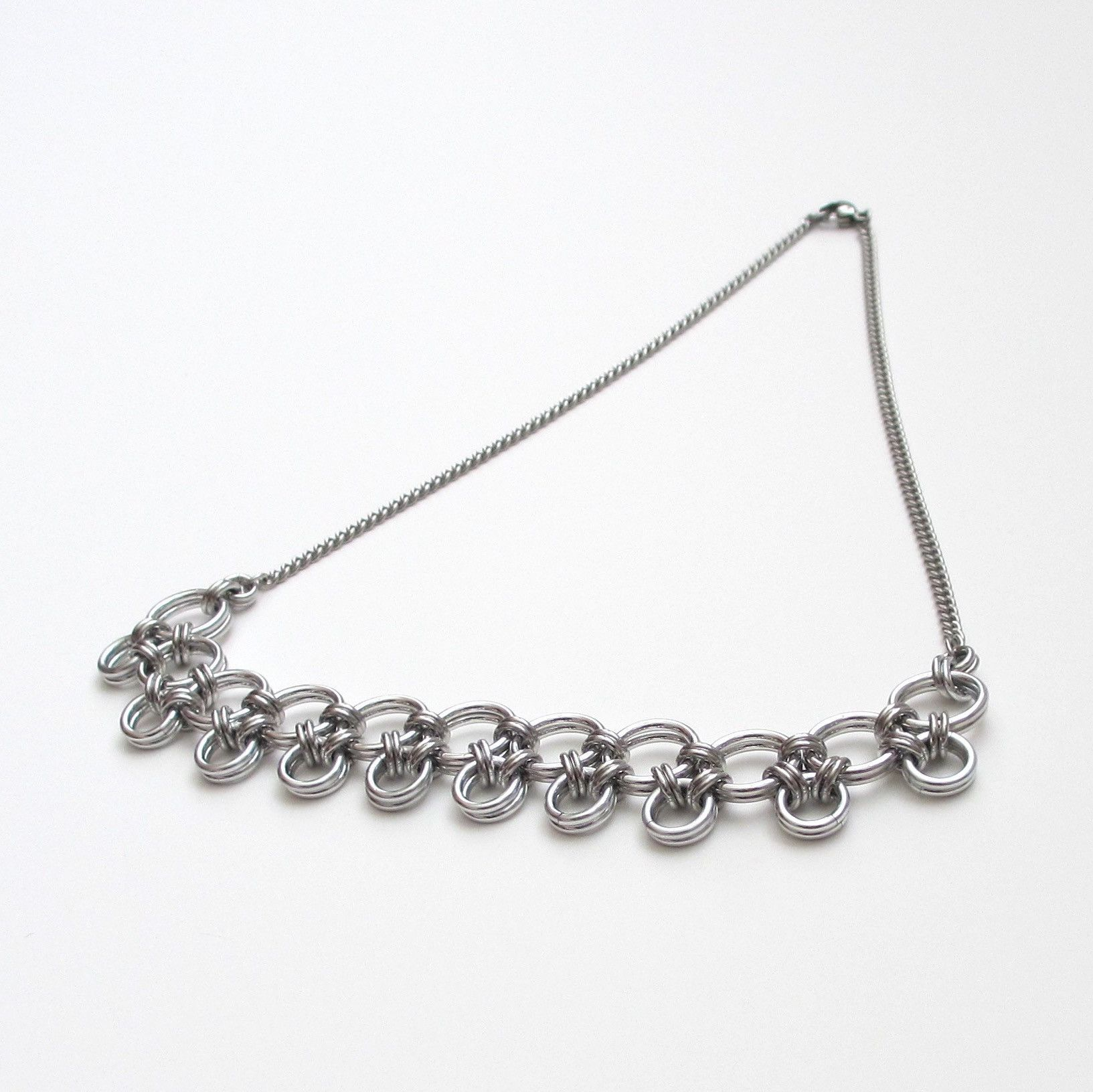 Silver Japanese Style Chainmaille Necklace