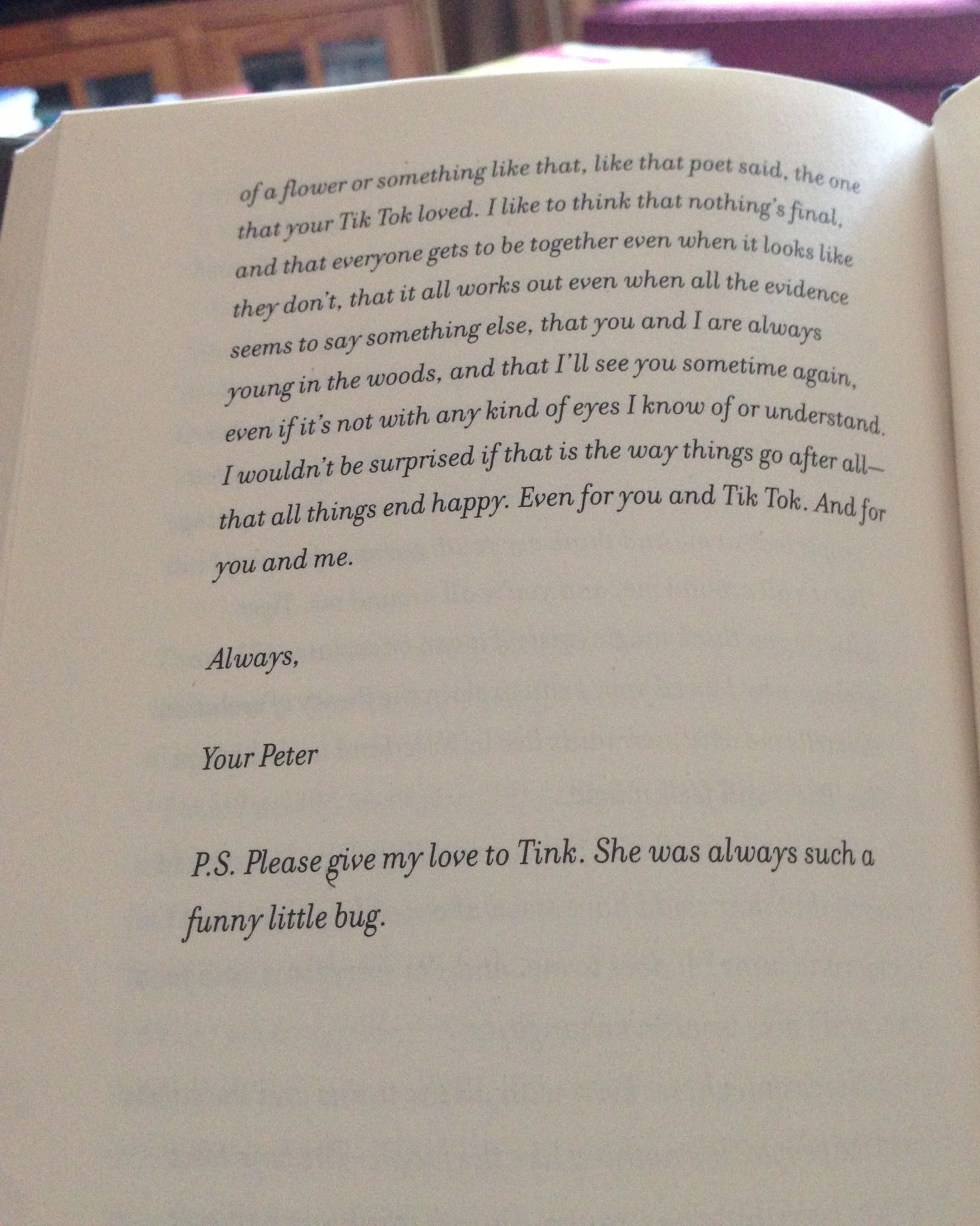 A Letter From Peter To Tiger Lily From The Book Tiger Lily