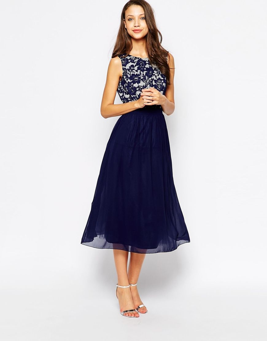 Little mistress tall midi prom dress with plunge back and bow tall