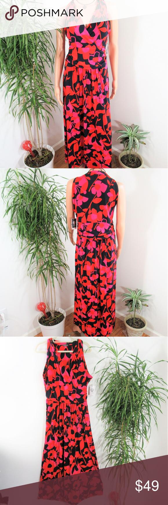 New Vince Camuto Deep V Floral Maxi Dress Floral Maxi Dress Gorgeous Dresses Clothes Design [ 1740 x 580 Pixel ]