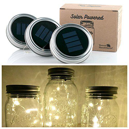 Vermont Home Garden 3 Pack Mason Jar Solar Lights Scr Mason Jar Fairy Lights Solar Mason Jars Mason Jar Solar Lights