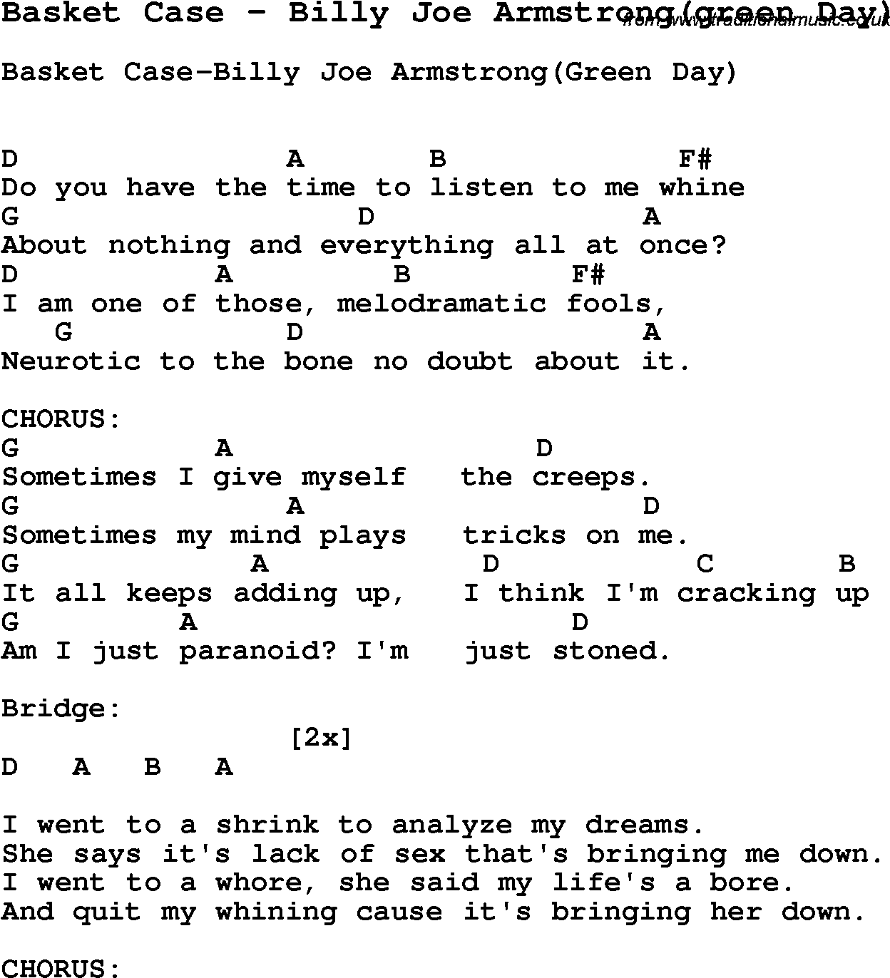 Song Basket Case by Billy Joe Armstrong(green Day), with