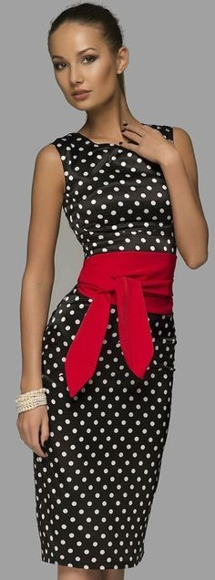 Elegant Polka dot Dress with red Belt. women fashion outfit clothing style apparel @roressclothes closet ideas