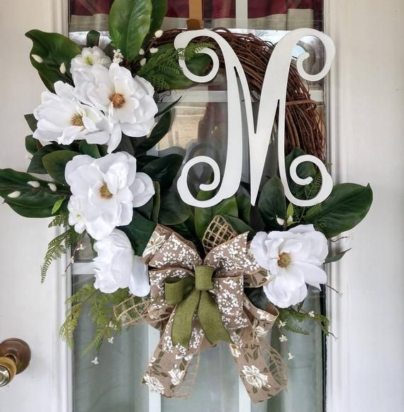 Photo of Personalized magnolia wreath, rustic wreath, everyday wreath for front door, spring wreath, engagement gift