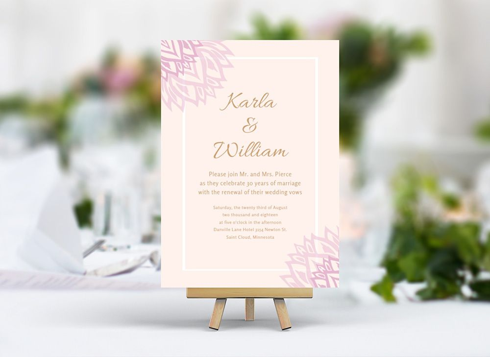Portrait Wedding Card On Wood Stand Mockup Generator Wedding