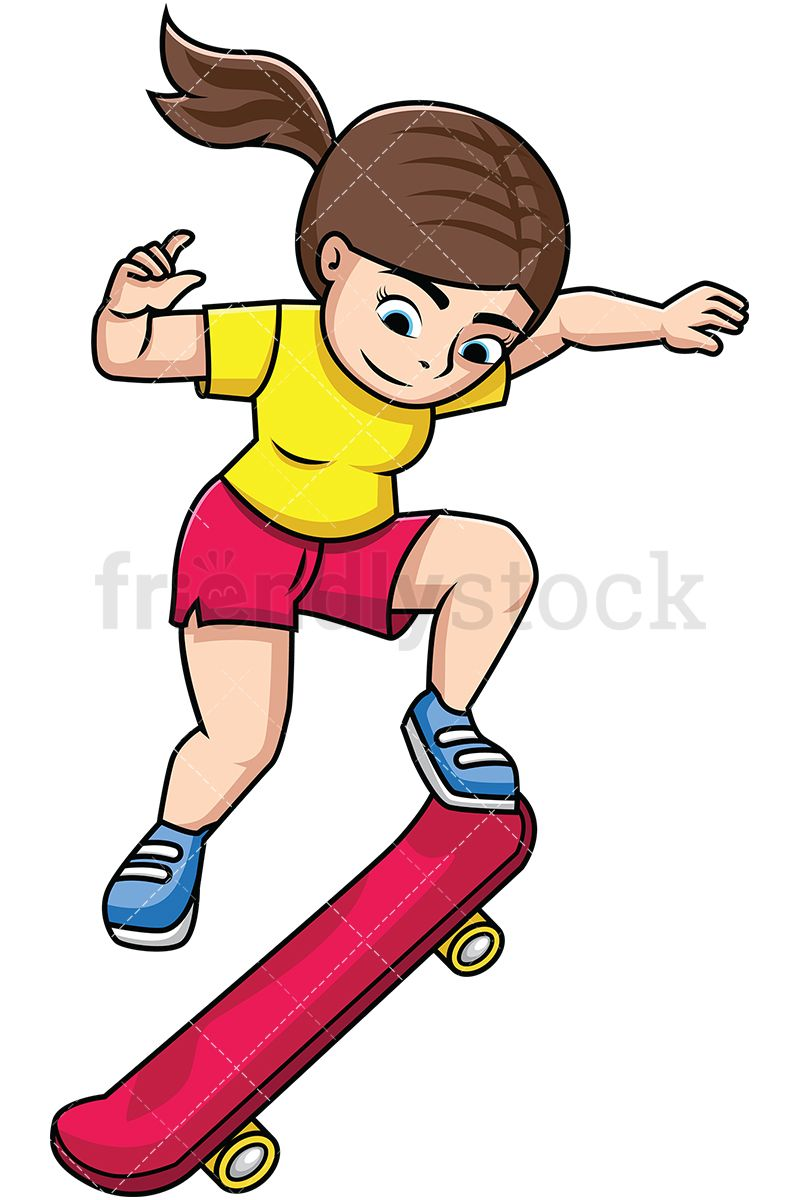 Woman Performing Trick With Skateboard With Images Cartoons Vector