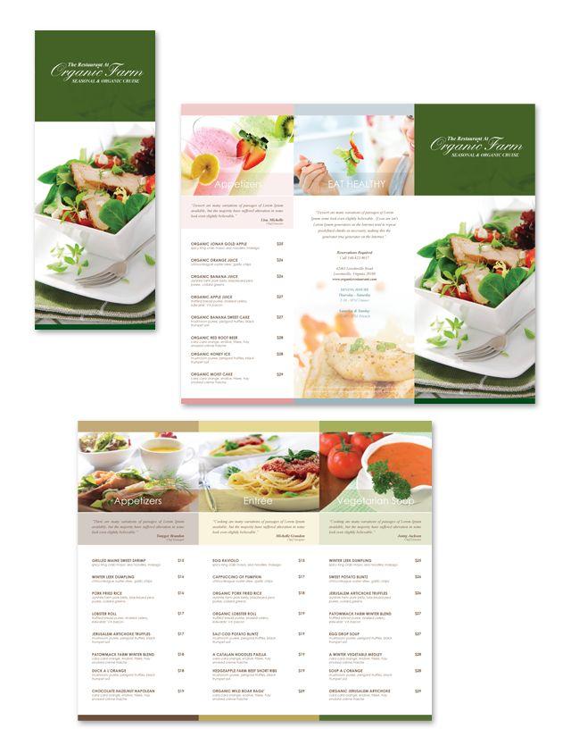 Organic Restaurant Tri Fold Menu Template Restaurant Menu Ideas - Tri fold menu template