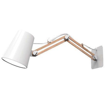 Aplique de pared articulado foco blanco madera luces for Aplique pared madera
