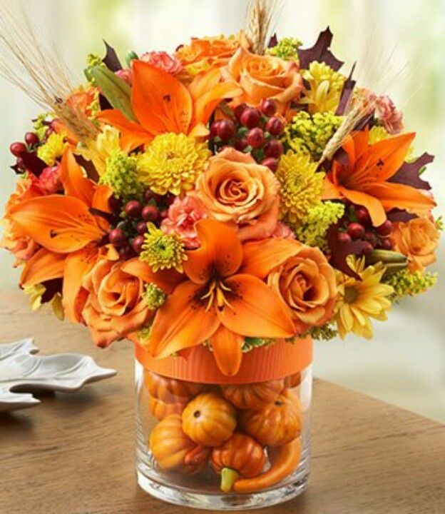 Mini Pumpkins In A Vase For A Lovely Thanksgiving Table
